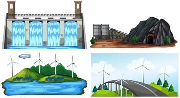 Een set van natuurlijke elektriciteitscentrale vector