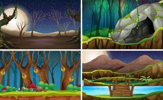Set van natuurlandschap in de nacht