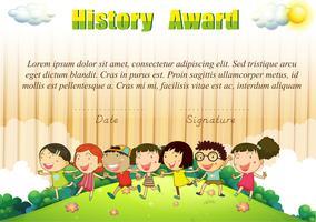 Geschiedenis award sjabloon met kinderen in het park vector