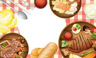 Gezond voedsel op tabel sjabloon vector