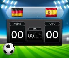 Duitsland vs Spanje scorebord sjabloon voor voetbal