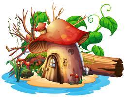 Paddestoelenhuis met tuin op eiland