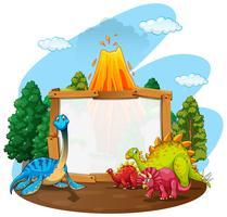 Bannermalplaatje met jura wereld van dinosaurussen