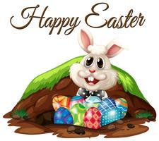 Vrolijk Pasen-konijn en eieren