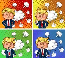 Amerikaanse president Trump met vier verschillende emoties