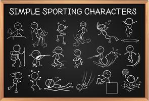 Eenvoudige sportieve karakters op blackboard