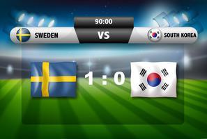 Een scorebord Zweden versus Zuid-Korea