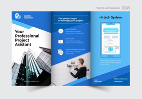 blauwe techno moderne brochure sjabloon vector