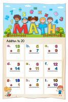 Math-werkblad voor toevoeging aan twintig