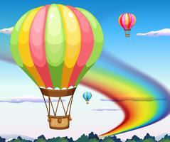 Ballonnen en regenboog vector
