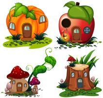 Vegetble huizen met deur en ramen