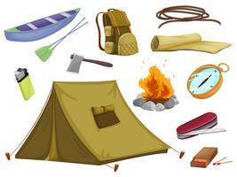 verschillende objecten van kamperen vector