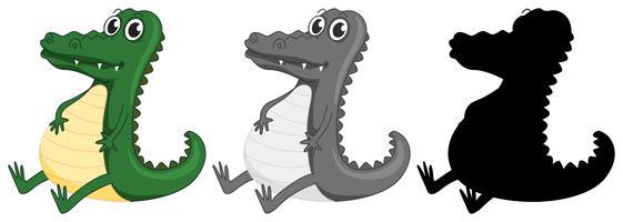 Set van krokodil karakter vector
