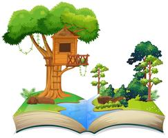 Boomhut bij de rivier op een boek