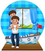 Vader en zoon in de slaapkamer vector