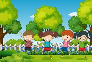 Scène met vier kinderen in het park vector