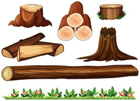 Een reeks van hout op witte achtergrond