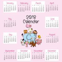 2018 kalendersjabloon met schattige dieren