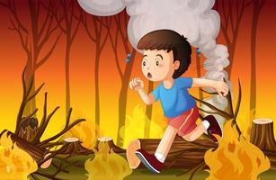 Een jongen rent weg voor natuurbrand