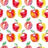 Waterverf naadloos patroon met rode appelen. Hand getrokken ontwerp.