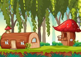 Sprookje huis in de natuur vector