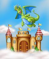 Draak die over kasteel vliegt