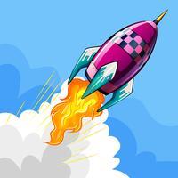 Raket die in hemel vliegen