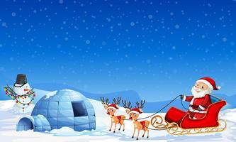 Kerstman op winter achtergrond