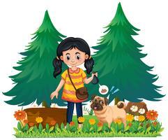 Een meisje pick-up hond kak vector