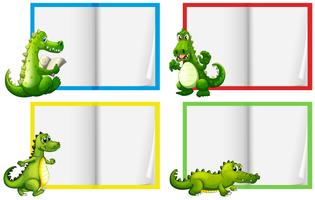 Een set van krokodil sjabloon vector