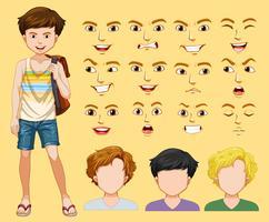 Een man met verschillende gezichtsuitdrukkingen vector