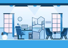 Moderne kantoorinstelling achtergrond Vector vlakke afbeelding