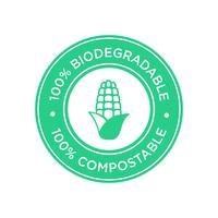 100% biologisch afbreekbaar en composteerbaar pictogram. Bioplastic gemaakt van maïs.
