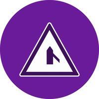Vector Minor Cross Road Van Right Road Sign Icon