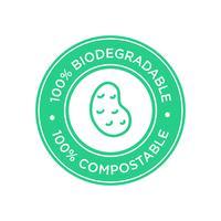 100% biologisch afbreekbaar en composteerbaar pictogram. Bioplastic gemaakt van aardappel.
