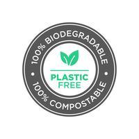 Kunststof vrij. 100% biologisch afbreekbaar en composteerbaar pictogram.