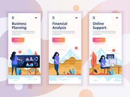 Set van onboarding schermen gebruikersinterfacekit voor planning, financiële analyse, ondersteuning, mobiele app sjablonen concept. Modern UX, UI-scherm voor mobiele of responsieve website. Vector illustratie.