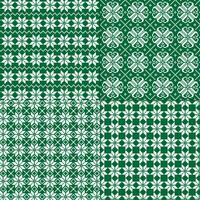 groene en witte Noordse sneeuwvlokpatronen vector