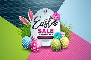 Pasen verkoop illustratie met kleur geschilderd ei, lente bloemen en typografie-element