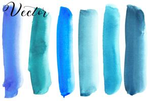 Set van aquarel vlek. Vlekken op een witte achtergrond. Waterverftextuur met borstelslagen. Blauw, turkoois. Zee, lucht. Geïsoleerd. Vector. vector