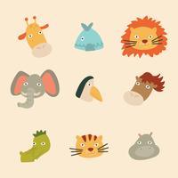 Doodled Kleurrijke Jungle Animals