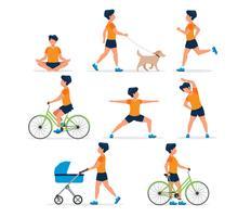 Gelukkige man doet verschillende outdoor-activiteiten: hardlopen, hond wandelen, yoga, oefenen, sport, fietsen, wandelen met kinderwagen.