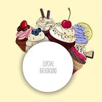 Vectorachtergrond met verschillende cupcakes en ronde grens voor tekst.