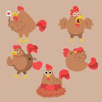Kip en haan. Grappige binnenlandse landbouwhuisdieren vogels eieren pollo vector stripfiguren. Karakter kippenboerderij, haan illustratie