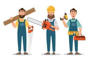 Timmerman, reparateur met zaag en hulpmiddelen. professioneel teamwerk. vector