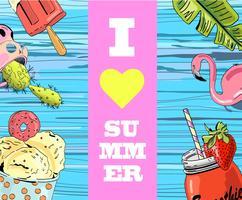 Ik hou van zomer belettering poster op blauwe houten achtergrond met ijs, smoothie, flamingo en cactus. vector