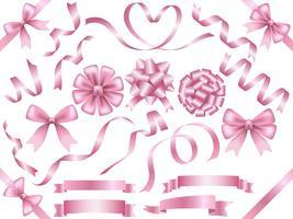 Set van geassorteerde roze linten geïsoleerd op een witte achtergrond. vector