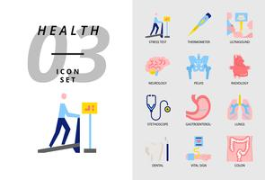 Icon pack voor gezondheid, ziekenhuis, stresstest, thermometer, echografie, neurologie, bekken, radiologie, stethoscoop, gastro-enteroloog, longen, tandheelkundige, vitale functie, colon.