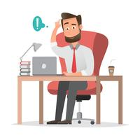 lachende zakenman zit en werkt op een laptopcomputer in zijn kantoor vector