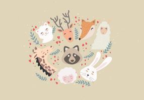 Animal Faces Set vector